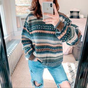VINTAGE | 100% Alpaca Fair Isle Knit Sweater Sz L